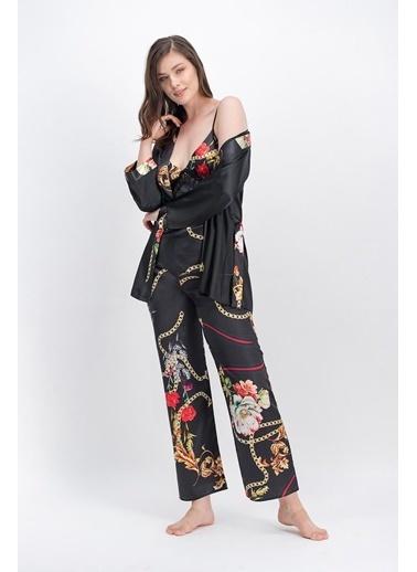 Arnetta Arnetta Chain Siyah Kadın Askılı Saten Pijama Takımı, Sabahlık 3'Lü Takım Siyah